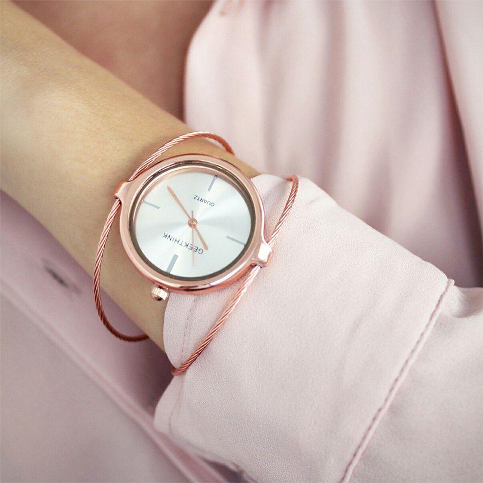 GEEKTHINK Metropol Mode Luxusmarke Quarzuhr Damen Armband Rose Gold Mädchen weibliche stahlband beiläufige Neue