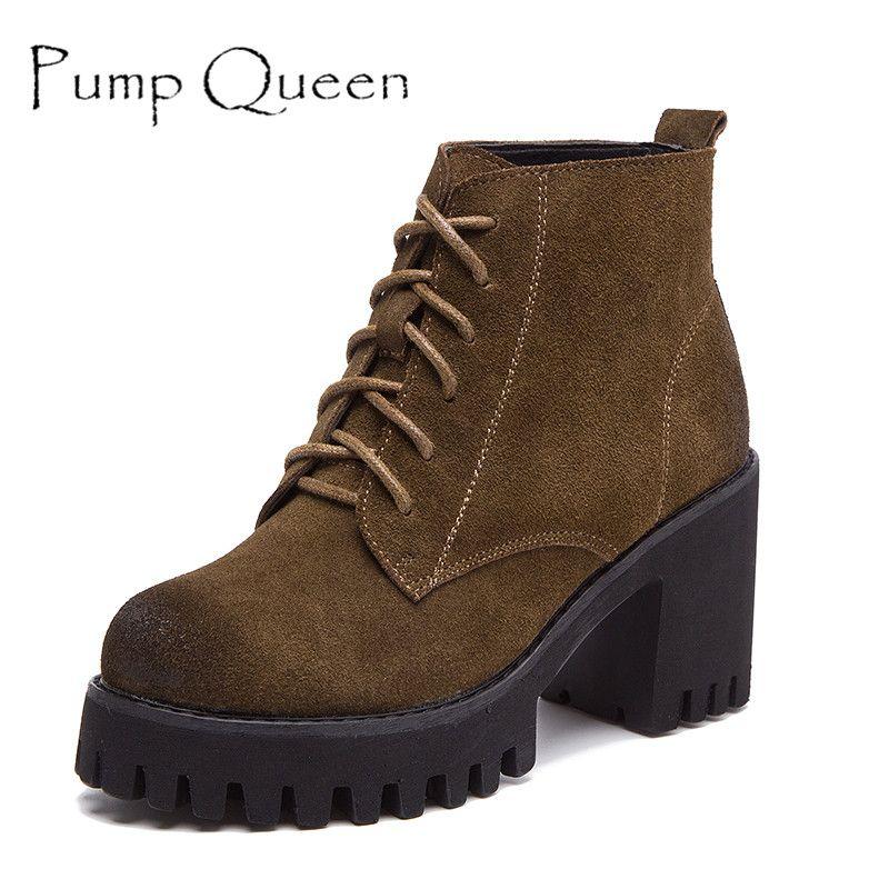Винтажные стильные женские сапоги на высоком каблуке женские ботильоны замшевые Пояса из натуральной кожи обувь на платформе толстый кабл...