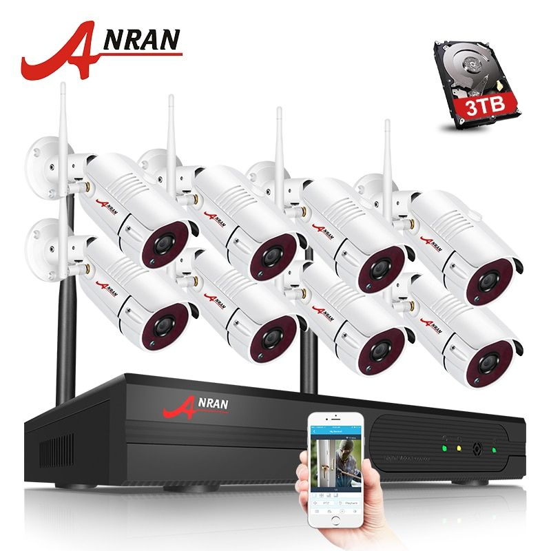 ANRAN 8CH Wifi NVR Wireless CCTV System With 1080P HD H.264 Outdoor Night Vision Security Camera Video Surveillance System