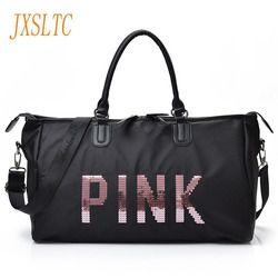 JXSLTC 2017 Ladies Black Travel Bag Pink Sequins Shoulder Bag Women Handbag Ladies Weekend Portable duffel Bag Waterproof  wash