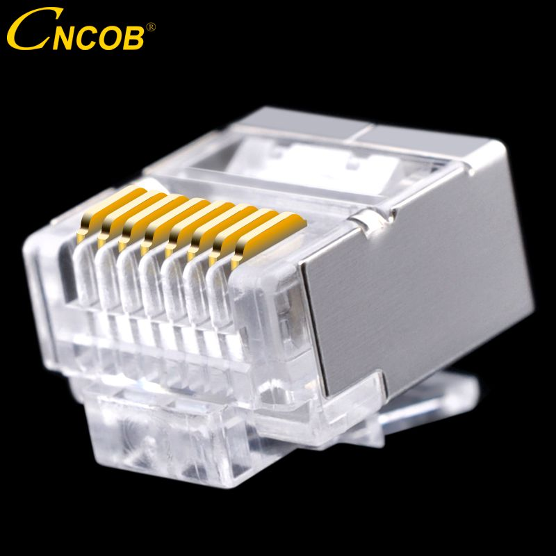 cncob Cat5E FTP flat cable, network connector 8P8C rj45 Ethernet RJ-45 short crystal head, nickel-plated copper shell 50pcs
