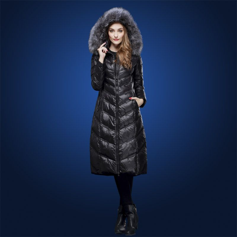 Winter Down coats for women Long design silver fox fur collar 90% white duck down coat with a hooded plus size M-3XL WD1606