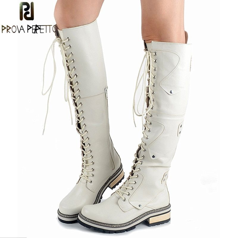 Prova Perfetto 2018 British Style White Real Leather Cross-tied Rivet Knight Boot Comfort Warm Thick Bottom High Heel Knee Boots
