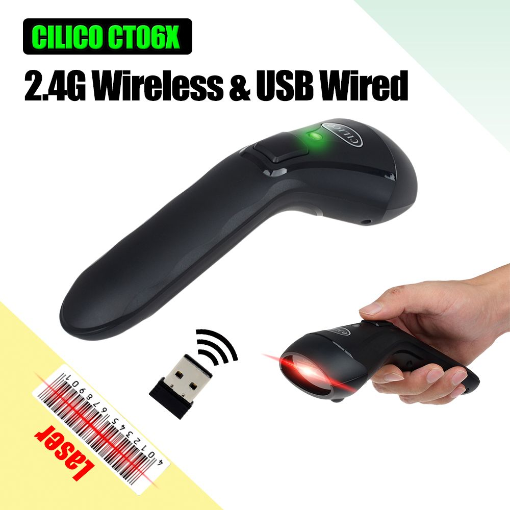 New Launch Top Speed CILICO CT-60 Handheld 2.4G Wireless/Wired Barcode Scanner Cordless Laser USB Bar Code Reader 1800mAh Power