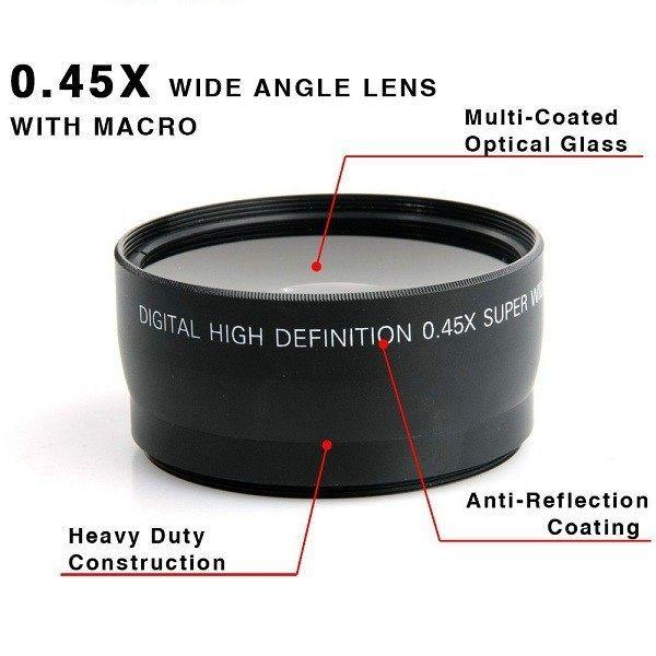58 MM 0.45x Objectif Grand Angle + Macro Objectif pour Canon EOS 350D/400D/450D/500D/1000D/550D/600D/1100D Nikon Livraison Gratuite