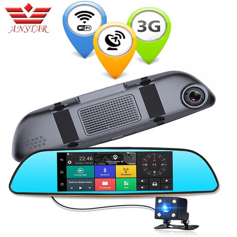 ANSTAR 3G Dual Lens Rearview Car DVR Camera GPS Bluetooth Mirror Video Recorder 7 inch FHD 1080P Auto DVRs Android 5.0 Dash Cam
