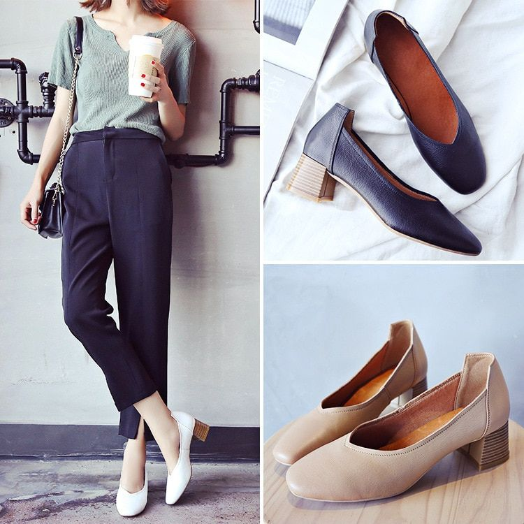 2018 High-heeled Shoes Spring Xia Xinkuan Genuine Leather Women's Shoes Shallow Mouth Women's Shoes Europe Station Fashion