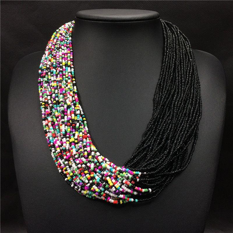 2018 Mode Bohème Boho Acrylique Perles collier pour femmes Long Multi Couche Déclaration Brin Collier Couches Bijoux collier femme