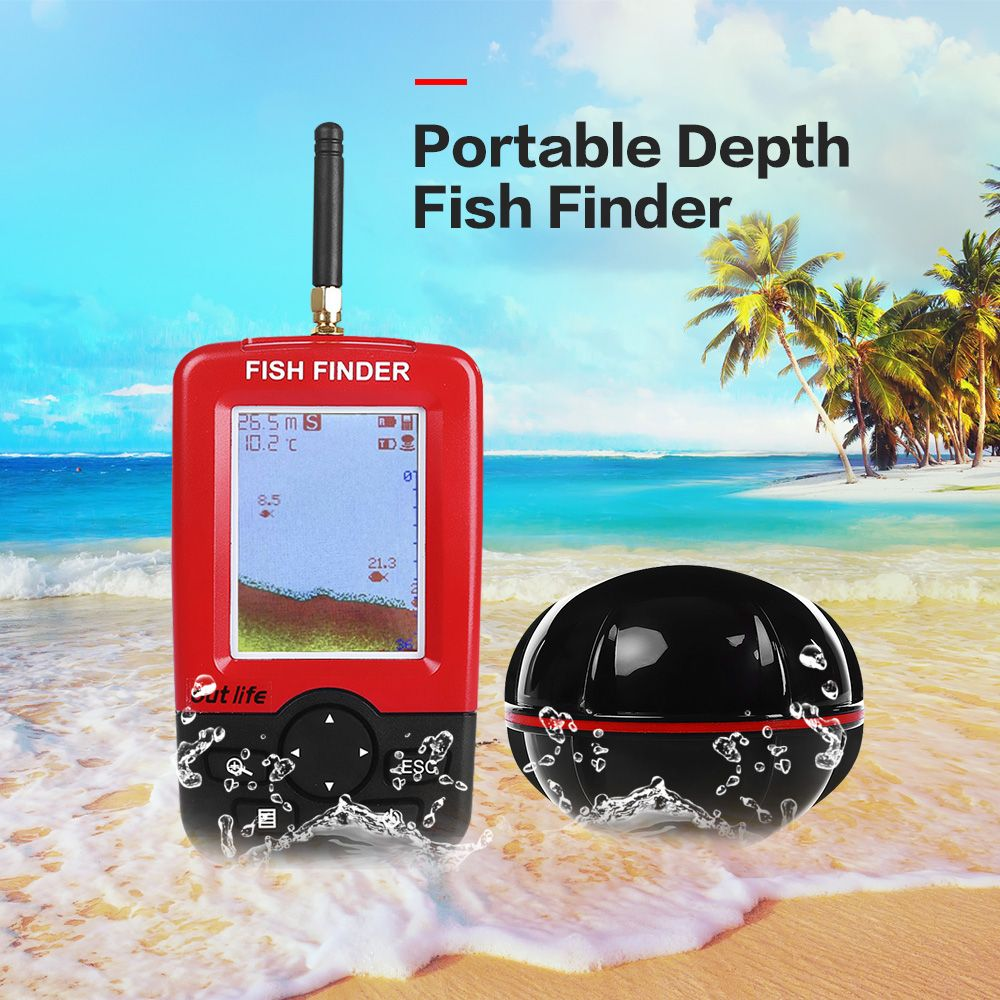 Outlife Smart Portable Depth Fish Finder with 100 M Wireless Sonar Sensor Echo Sounder Fishfinder for Lake Sea Fishing Saltwater