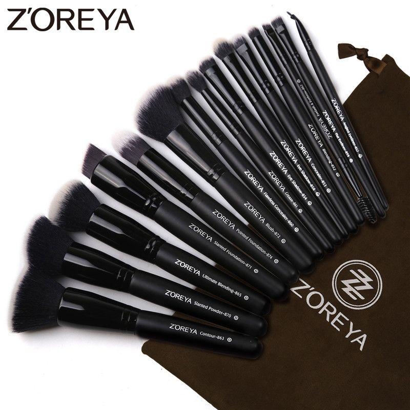 Zoreya Marque 15 pcs Noir Maquillage Brosses Set Eye Shadow Poudre Fondation Pinceau Pour Le Maquillage Meilleur Mélange Concealer Cosmétique Outils