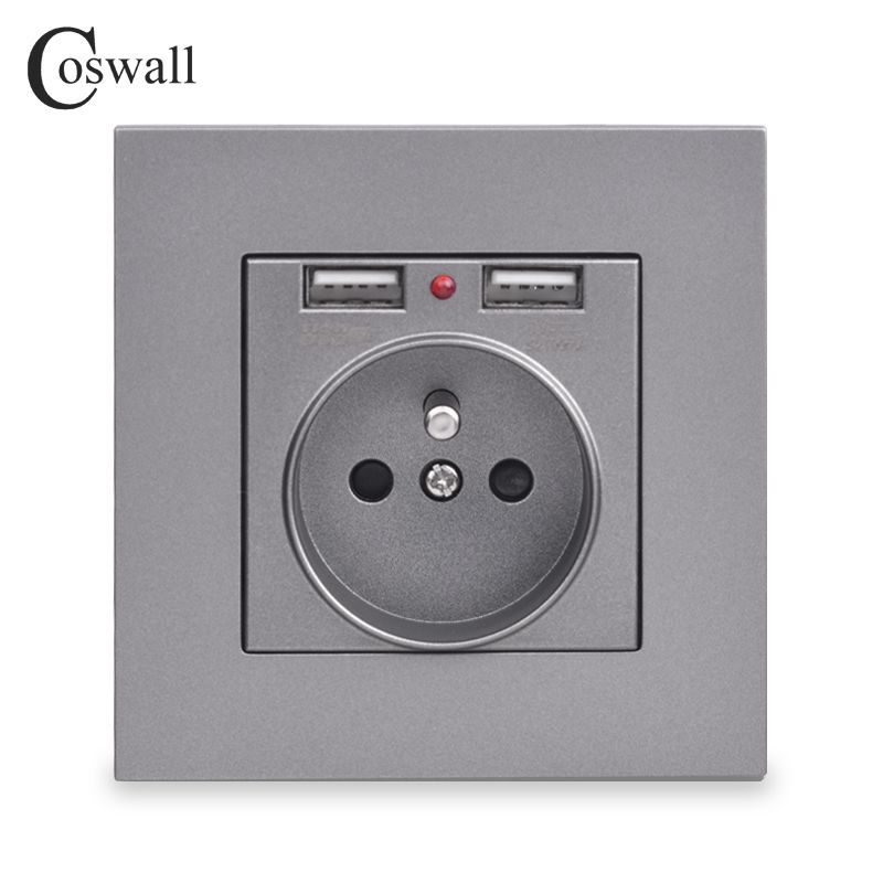 Coswall Dual USB Charging Port 5V 2.1A LED Indicator 16A Wall French Power Socket Outlet PC Panel Grey Black White Gold 4 Colors