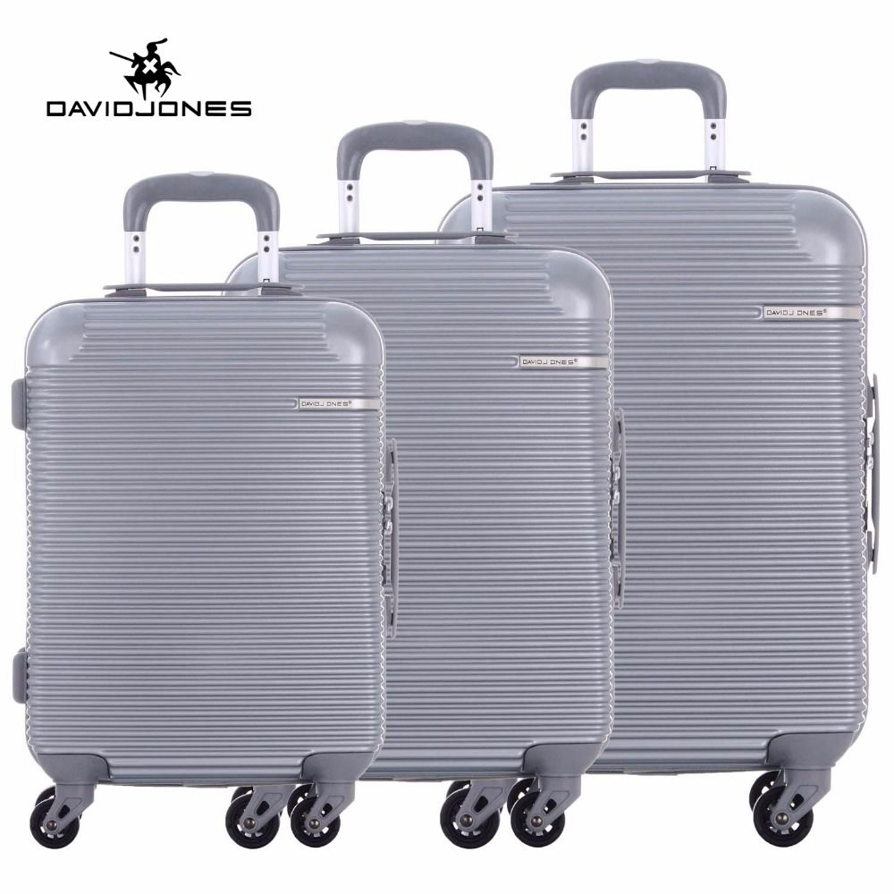 DAVIDJONES wheel travel suitcase trolley bag spinner large women rolling luggage bag girl vintage suit case box 3 piece trunk