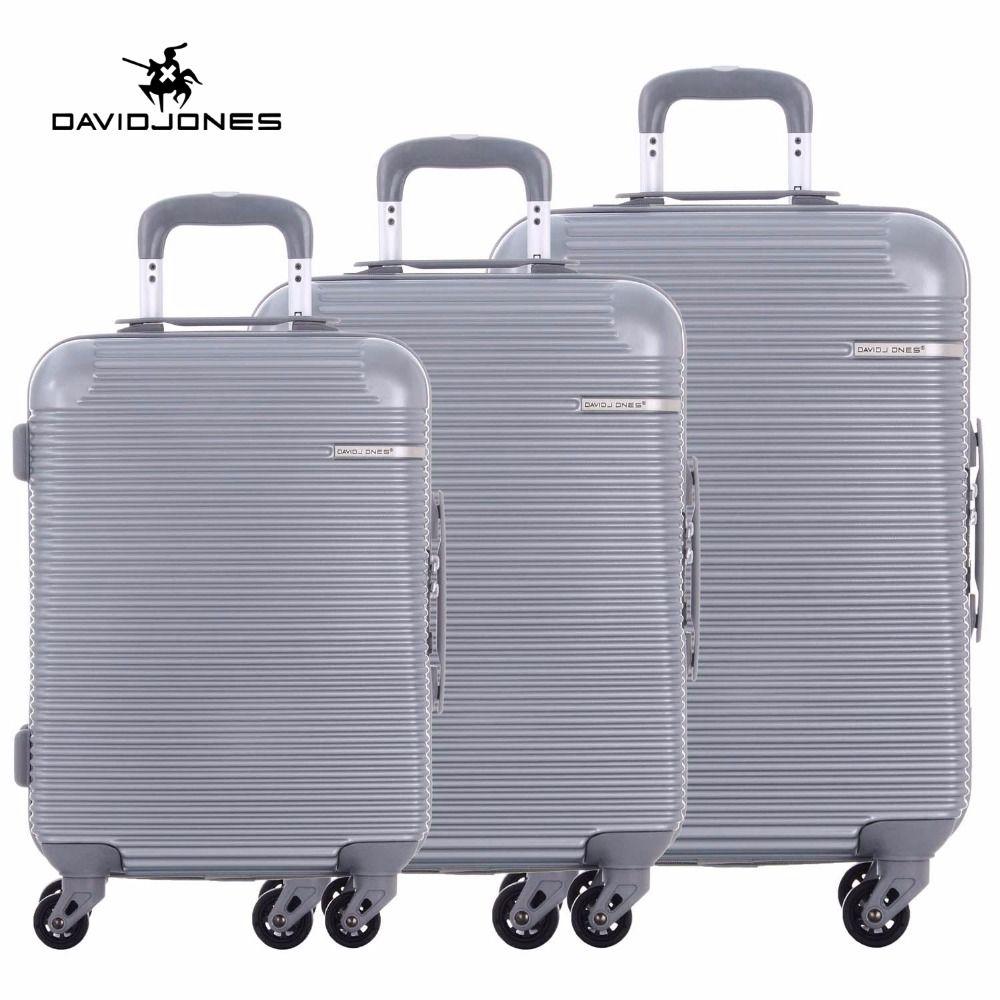 DAVIDJONES wheel travel suitcase trolley bag spinner large women rolling luggage bag girl vintage suit case box 3 piece trunk