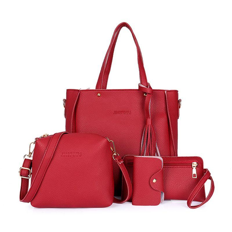 Dropshipping 4PCS Handbag Set Women PU Leather Shoulder Bag A435