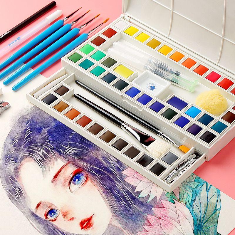Ensemble de peinture aquarelle solide de 18/36 couleurs Marie's avec pinceau Pigment aquarelle Transparent pour fournitures d'art pour élèves