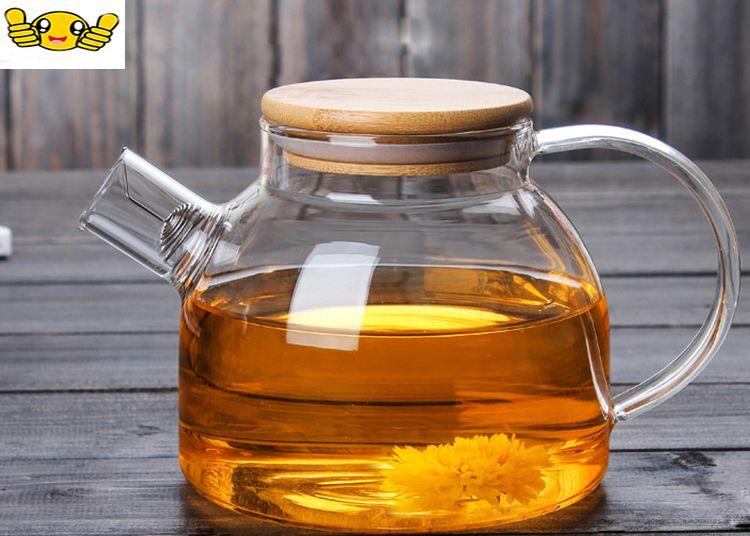 Free shipping1000ML Large Capacity Transparent Heat Resistant High Borosilicate Glass Tea Pot with Filter Kung Fu Tea Set Teapot