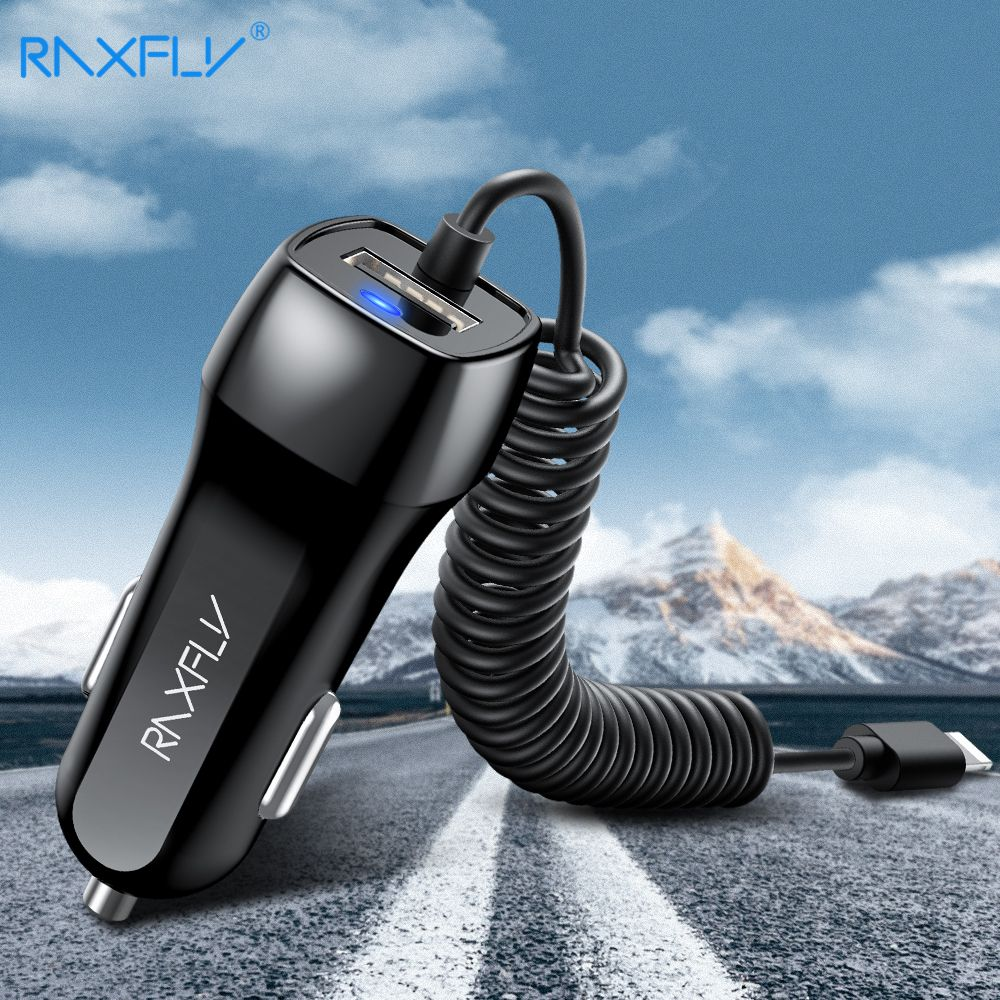 RAXFLY Dual USB Car Charger Car-charger For iPhone XS Max X 8 Phone Charge Adapter Micro USB Type C For Samsung S9 S8 Xiaomi