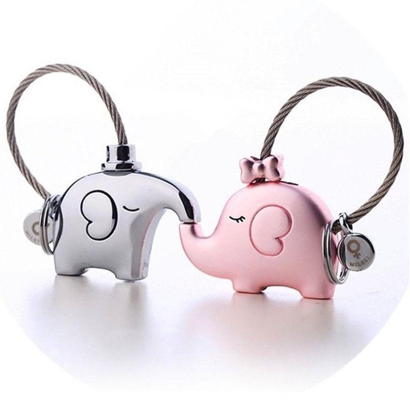 Milesi une paire d'éléphant couples porte-clés amoureux porte-clés femmes sac charme cadeau Bijou pendentif pour clé de voiture chaîne k0180