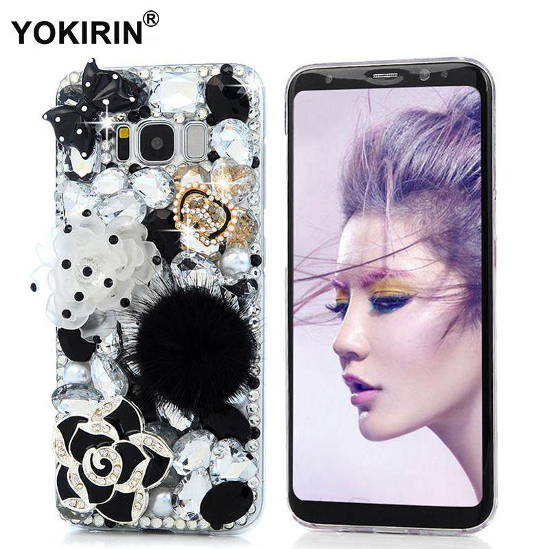 YOKIRIN Mode Bling Diamant Cas Pour Samsung Galaxy S8 Strass Téléphone 3D À La Main En Cristal de Couverture Pour Samsung Galaxy S8