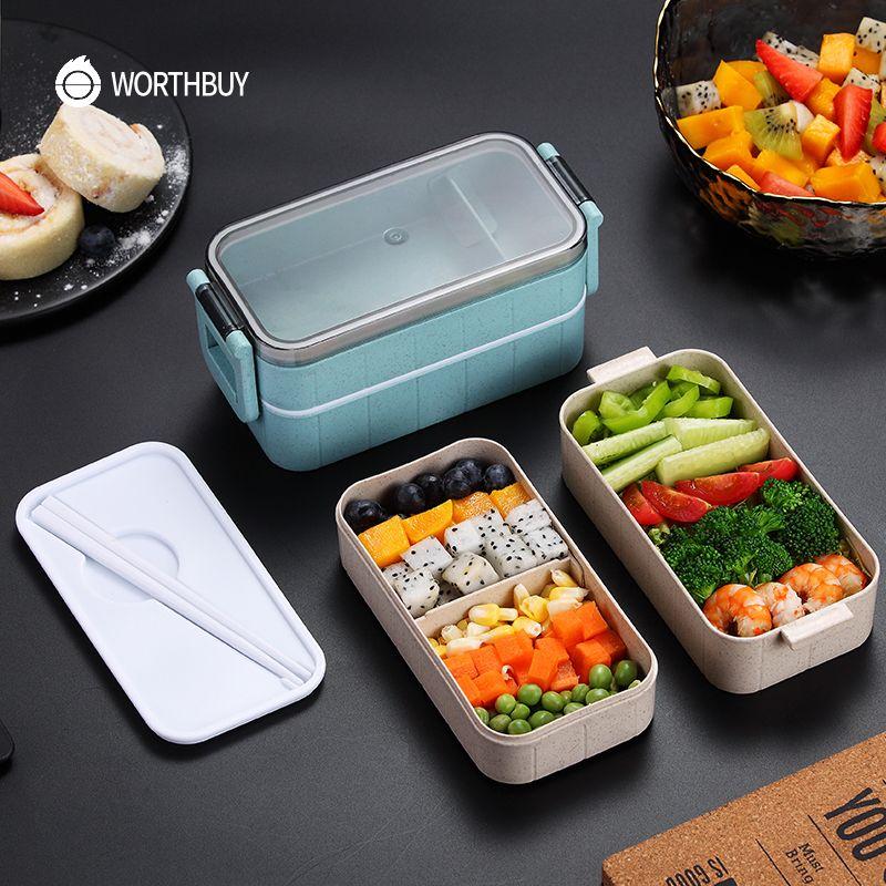 Boîte à Bento micro-ondes japonais boîte à Bento paille de blé enfant boîte à déjeuner Bento étanche pour enfants conteneur de nourriture scolaire