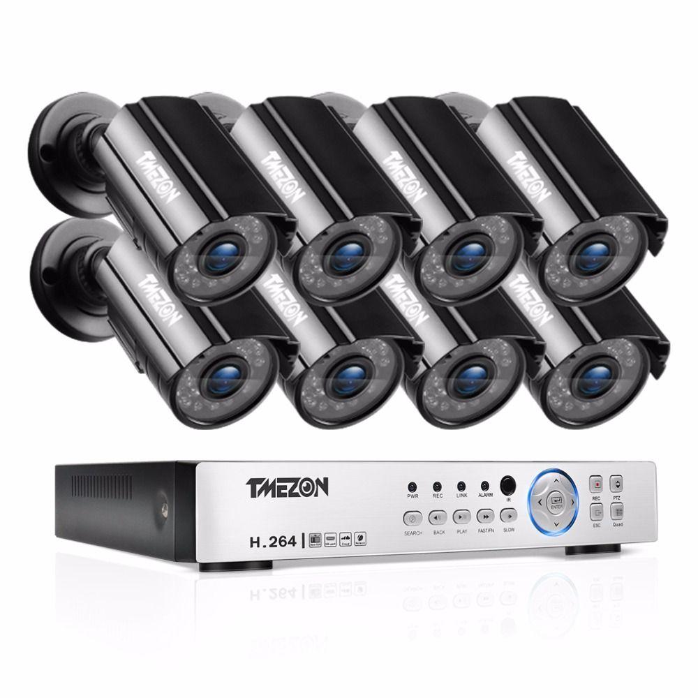 TMEZON 8CH CCTV System 8PCS 1080P Outdoor Weatherproof Security Camera 8CH 1080P DVR Night Vision Kit Video Surveillance System