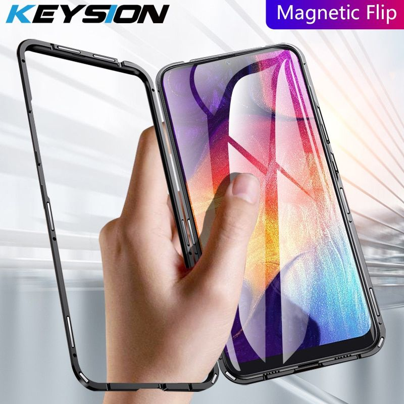 KEYSION Magnetic Phone Case for Samsung Galaxy A50 A30 A70 Transparent Tempered Glass + Metal hard back Cover for M10 M20 M30