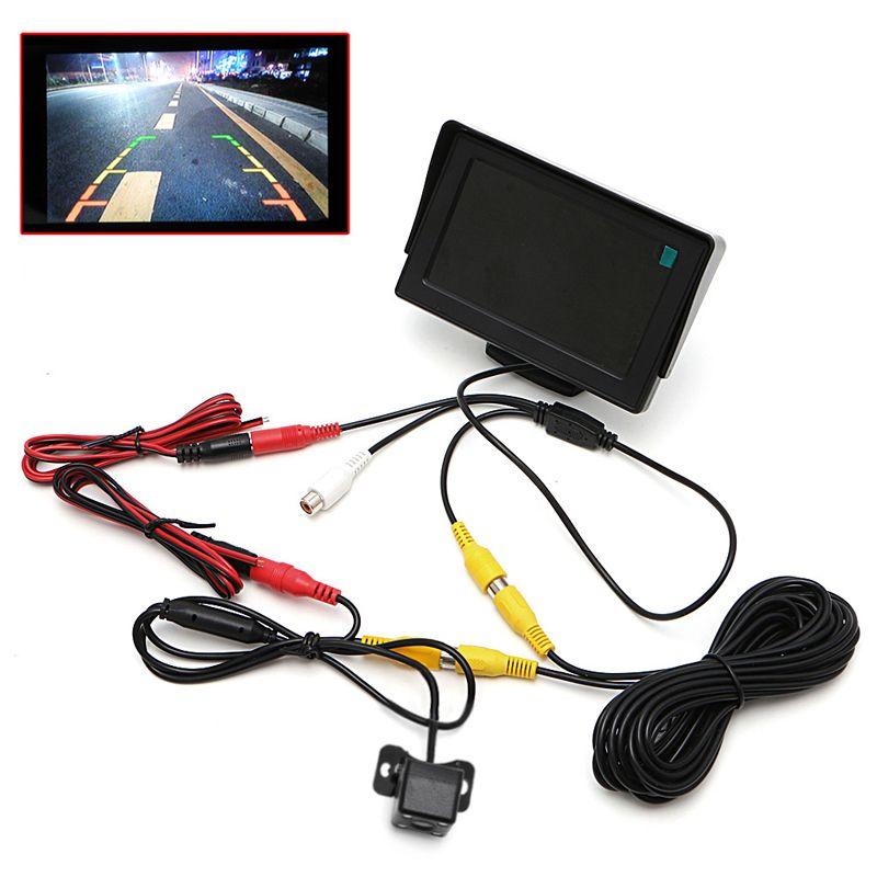 2 In1 Car Parking 4.3 TFT LCD Color Display Monitor+Waterproof Reversing <font><b>Backup</b></font> Rear View Camera