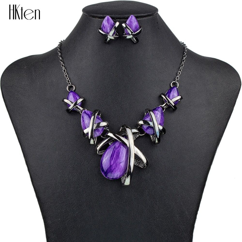 MS1504514 Fashion Brand Jewelry Sets Gunmetal Plated 4Colors Blue Necklace Set Bridal Jewelry High Quality Party <font><b>Gifts</b></font>
