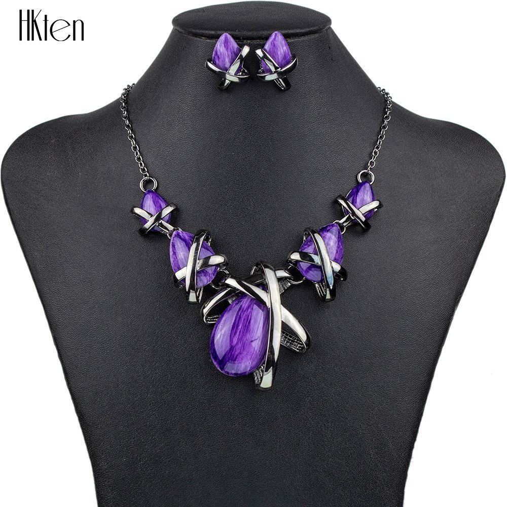 MS1504514 Fashion Brand <font><b>Jewelry</b></font> Sets Gunmetal Plated 4Colors Blue Necklace Set Bridal <font><b>Jewelry</b></font> High Quality Party Gifts