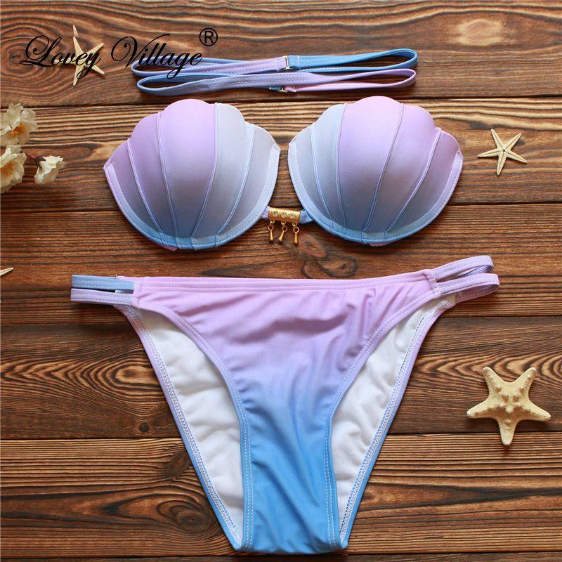 2017 Bandage Bikinis sirène Shell haut de bikini maillot de bain bandeau Push Up maillot de bain découpé maillot de bain bas brésiliens vêtements de plage