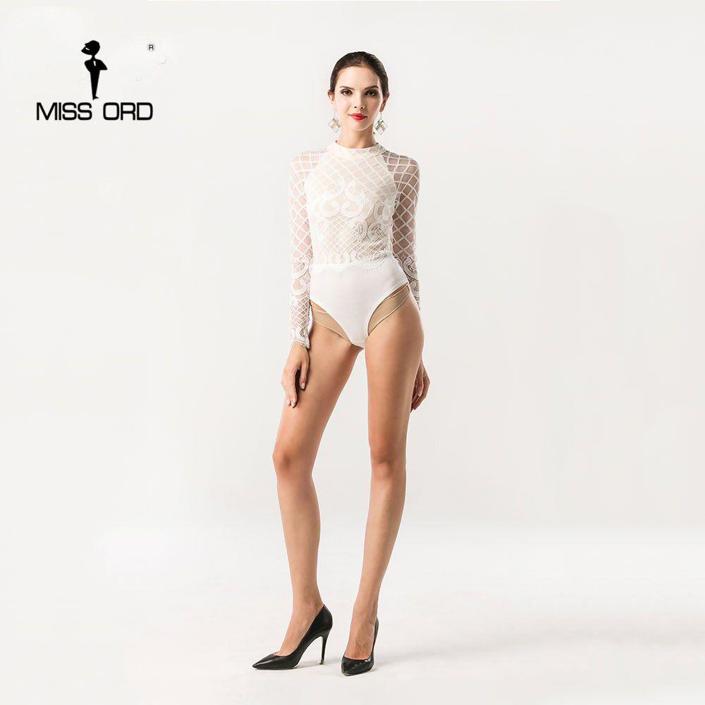 Missord 2018 Сексуальная О-образным вырезом с длинными рукавами Кружево шить боди Playsuit ft5191