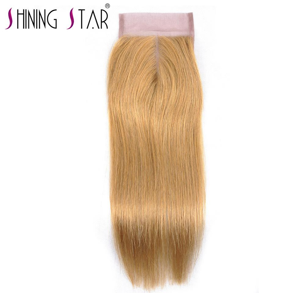 Honey Blond Brazilian Straight Hair Color 27 4*4 Swiss Lace Closure Middle Part 100% Human Hair Extension Shining Star Non Remy