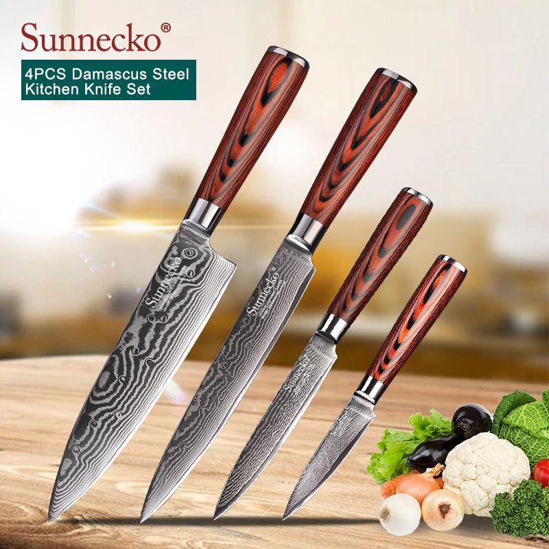 SUNNECKO 4 PCS Küche Messer Set Utility Chef Messer 73 Schichten Damaskus VG10 Stahl Scharfe Klinge Schneiden Werkzeuge Pakka Holz griff