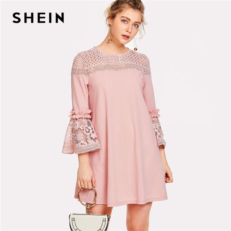 SHEIN Eyelet Crochet Lace Detail Frill Trim Dress 2018 Summer Round Neck Butterfly Sleeve Dress Women Pink Elegant Ruffle Dress