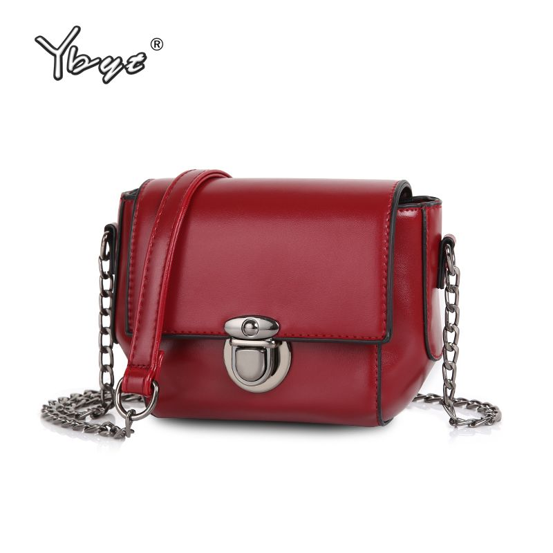 YBYT brand 2017 new vintage casual solid chains hasp mini flap hotsale <font><b>ladies</b></font> evening bag women shoulder messenger crossbody bag