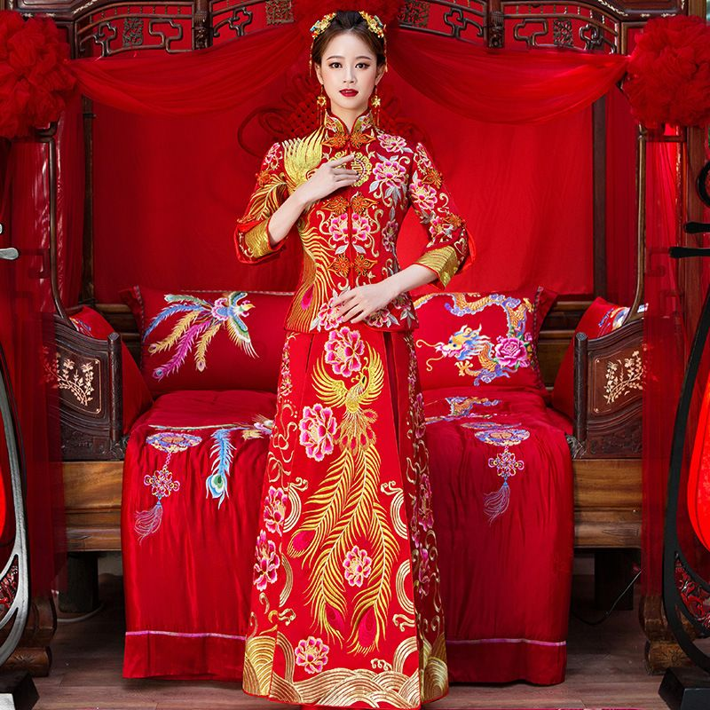 High Quality Women Phoenix Embroidery Cheongsam Long Qipao Wedding Dresses Traditional Chinese Dress China Clothing Store