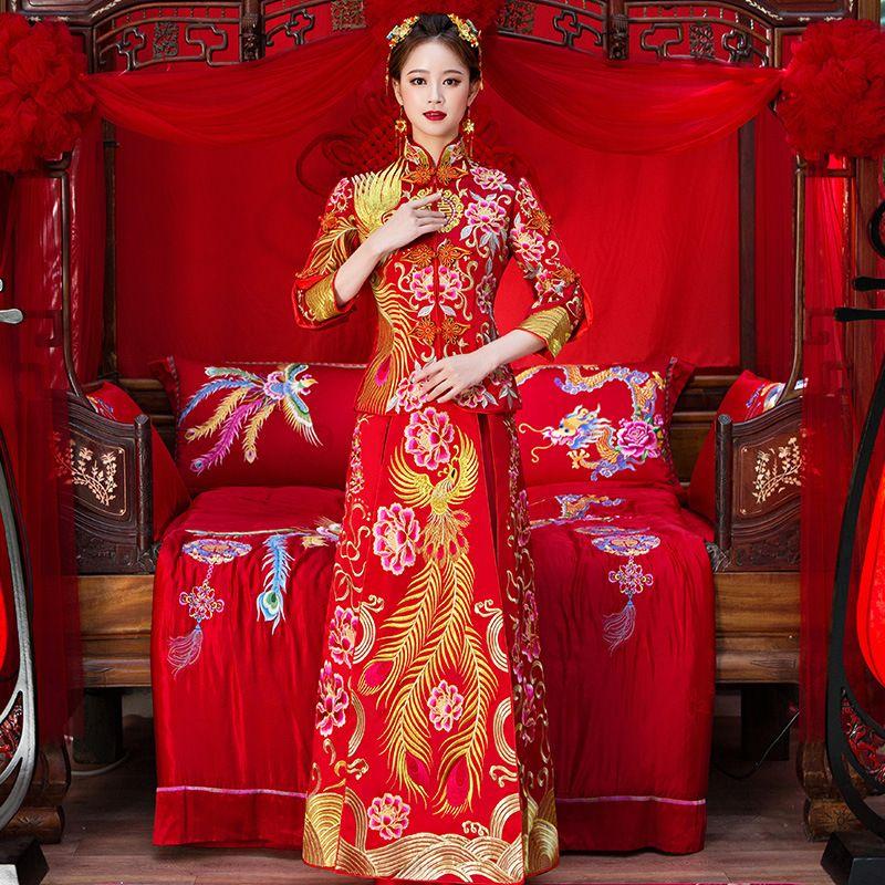 Hohe Qualität Frauen Phoenix Stickerei Cheongsam Lange Qipao Hochzeit Kleider Traditionellen Chinesischen Kleid China Kleidung Shop