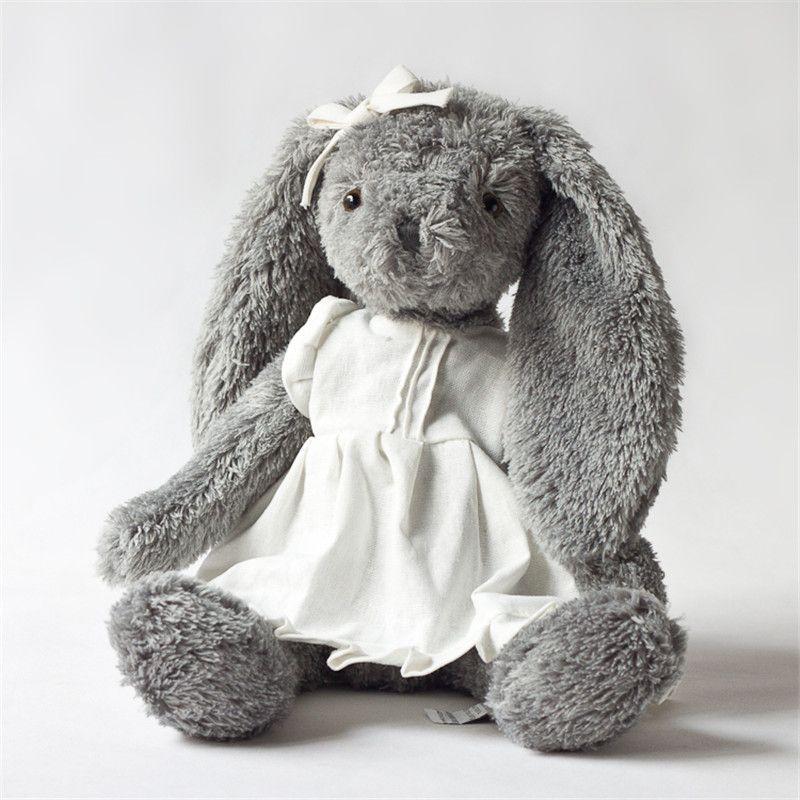 En peluche jouet gris usure de lapin blanc linge jupe belle lapin nouveau design de haute qualité assis fièrement 28 cm total 45 cm