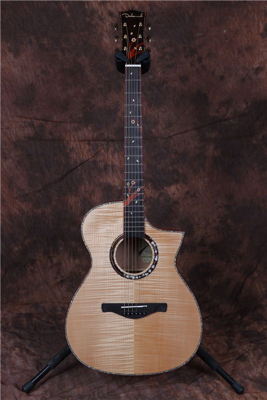 2018 solid flame maple wood acoustic electric guitar tal body shape