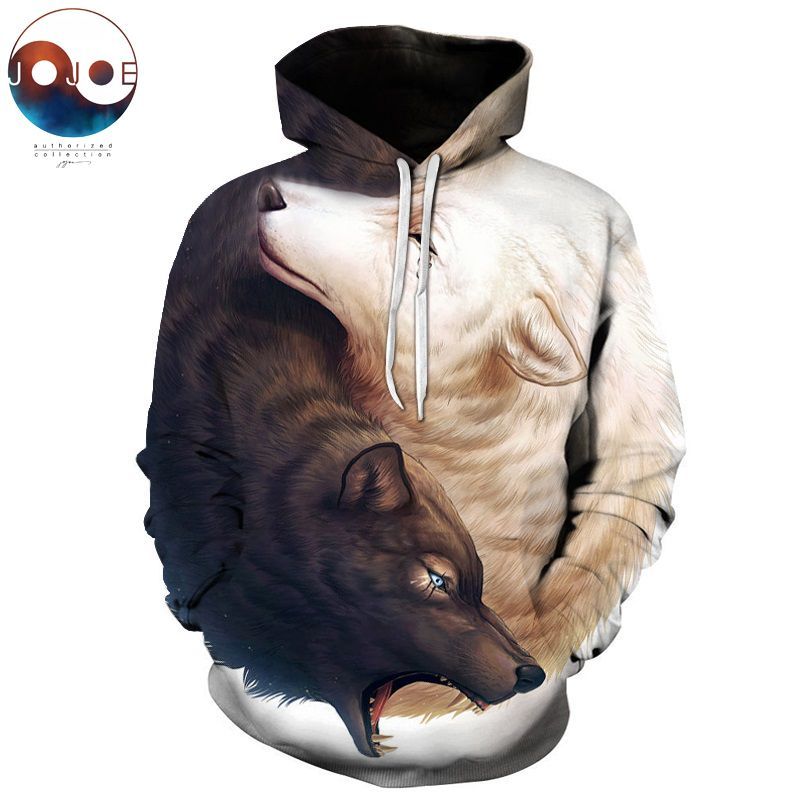 Yin and Yang <font><b>Wolves</b></font> by JoJoesArt 3D <font><b>Wolf</b></font> Hoodies Brand Hoodie Men Sweatshirt Unisex <font><b>Wolf</b></font> Male Pullover Fashion Casual Tracksuits