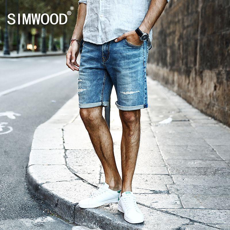 SIMWOOD 2017 Été Nouveau Short En Jean Hommes Jeans Coton Trou De Mode Pantalon Slim Fit Ripped KD5053