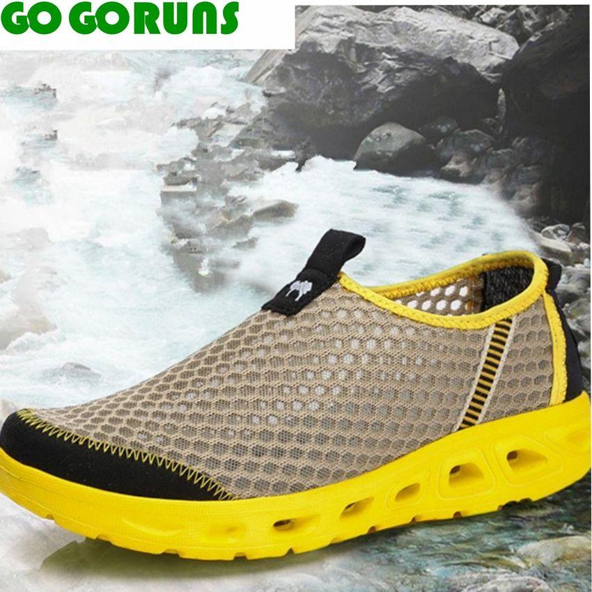 Summer Outdoor Mesh Aqua Shoes Men Hiking Shoes Trekking Senderismo Upstream Walking Water Quick Drying Hiking Shoes Men 25v6