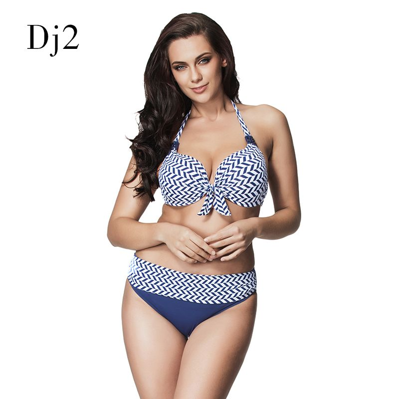 High-end Bikini Set Push Up Swimwear Women 2017 High Waisted Swimsuits Sexy Halter Strappy Bathing Suit Beachwear Plus Size 6XL