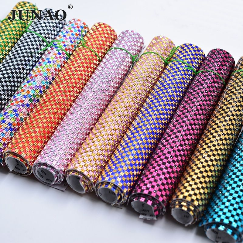 JUNAO 24*40cm Self Adhesive Crystal Rhinestones Mesh Trim Crystal Beads Applique Strass Banding In <font><b>Roll</b></font> For DIY Jewelry Crafts