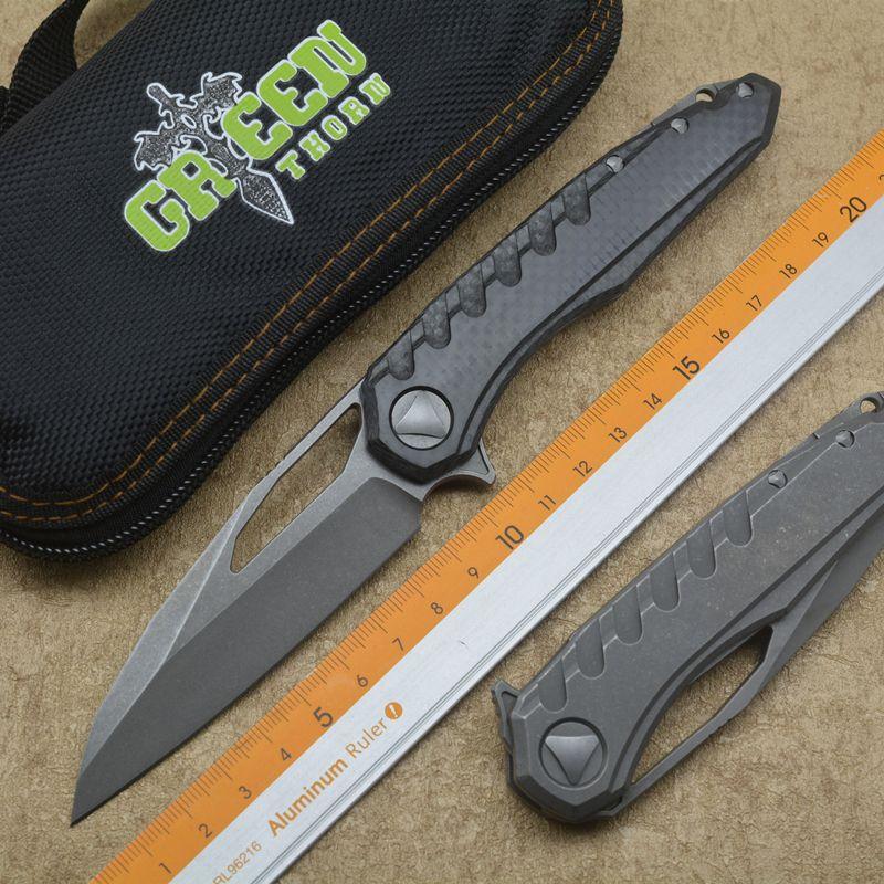 Grün dorn marfione Klappmesser M390 Stahl Lager Titan + Kohlefaser Griff Camping Jagd Outdoor Messer EDC Werkzeuge