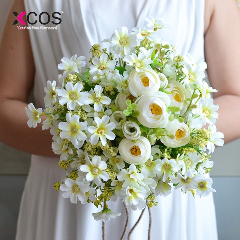 Kleine Daisy Hochzeit Bouquet Handgemachte Künstliche Blume Rose buque casamento Braut Bouquet für Hochzeit Dekoration 2018