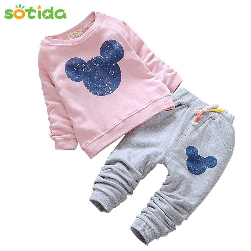Melario bébé filles vêtements 2019 automne bébé vêtements ensembles dessin animé impression Sweatshirts + pantalons décontractés 2 pièces pour bébé enfants vêtements