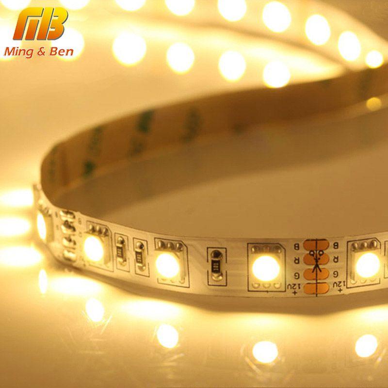 [MingBen] LED Bande Faixa De LED Flexible SMD 5050 DC12V 60 leds/m 5 mètres/lot Tira Llevada Tira Conduzida Cool blanc Chaud Blanc