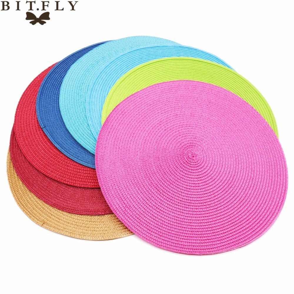 4Pcs/lot Round Weave Placemat Fashion PP Dining table mat Disc Pads Bowl Pad Coasters Non-Slip Waterproof Table Decoration