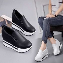 Women's Spring Flatform Shoes Solid Wild Round Toe Casual Shoes MM